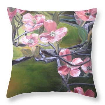 Dogwoods Throw Pillow by Roberta Rotunda