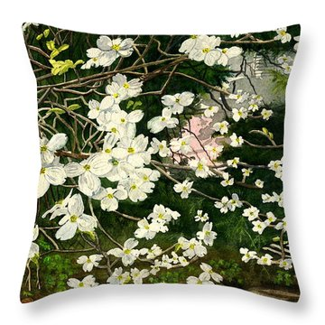 Throw Pillow featuring the painting Dogwoods Virginia by Melly Terpening