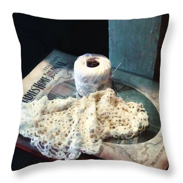 Doily And Crochet Thread Throw Pillow