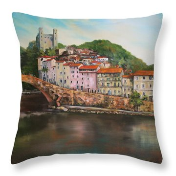 Throw Pillow featuring the painting Dolceacqua Italy by Jean Walker