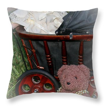Doll And Teddy Throw Pillow