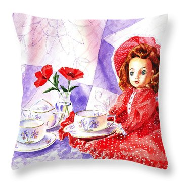 Doll At The Tea Party  Throw Pillow