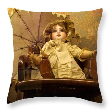 Antique Doll In Chair With Parasol Throw Pillow