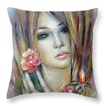 Throw Pillow featuring the painting Doll With Roses 010111 by Selena Boron
