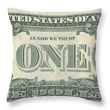 Dollar Bill Alien Throw Pillow