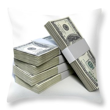 Dollar Bill Bundles Pile  Throw Pillow