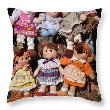 Throw Pillow featuring the photograph Dolls by Marcia Socolik