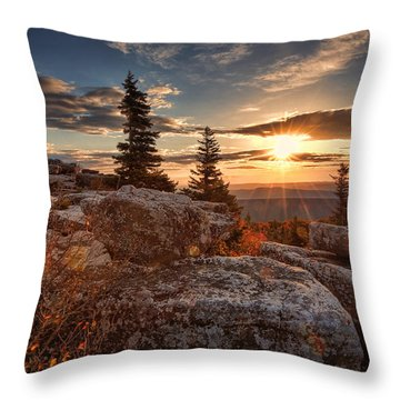 Dolly Sods Morning Throw Pillow by Jaki Miller