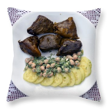 Dolmathes And Garbanzo Salad With Sliced Cucumbers Throw Pillow