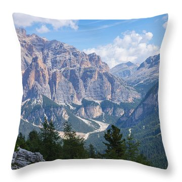 Dolomite Mountain View Throw Pillow