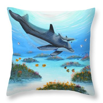 Dolphen Moves Throw Pillow