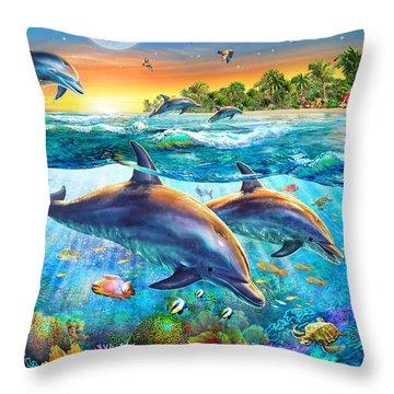 Dolphin Bay Throw Pillow