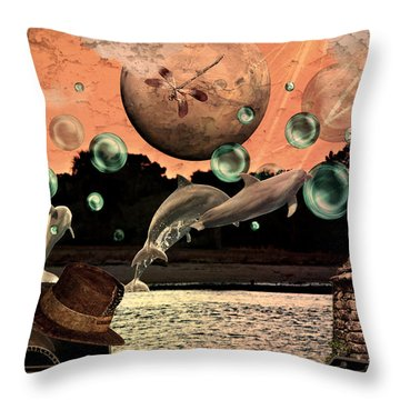 Throw Pillow featuring the mixed media Dolphin Dreams by Ally  White