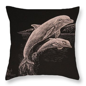 Dolphin Dynamic Duo Throw Pillow