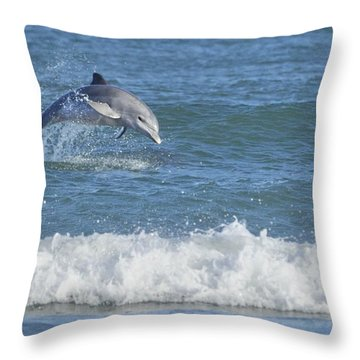 Dolphin In Surf Throw Pillow