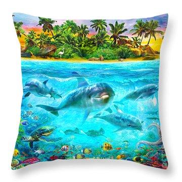 Dolphin Paradise Island Throw Pillow