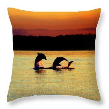 Dolphin Serenade Throw Pillow by Karen Wiles