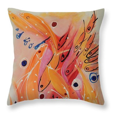 Throw Pillow featuring the painting Dolphins And Fish by Lyn Olsen