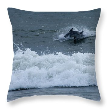 Throw Pillow featuring the photograph Dolphins At Play by Greg Graham