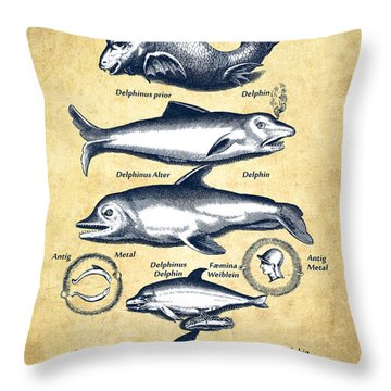 Dolphins - Historiae Naturalis - 1657 - Vintage Throw Pillow by Aged Pixel
