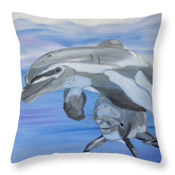 Sublime Dolphins Throw Pillow by Meryl Goudey