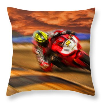 Domenic Caluori At Speed Throw Pillow