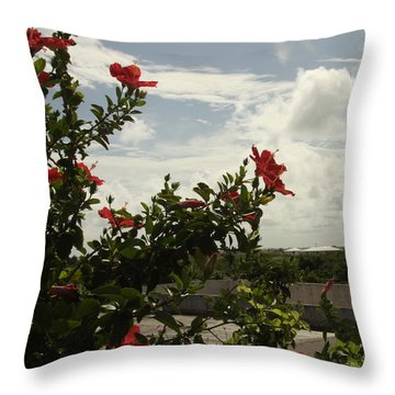 Dominican Red Flower Throw Pillow by Mustafa Abdullah