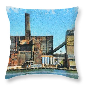 Domino Sugar New York Throw Pillow by Mick Flynn