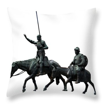 Throw Pillow featuring the photograph Don Quixote And Sancho Panza  by Fabrizio Troiani