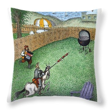 Don Quixote In The Hamptons Throw Pillow
