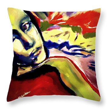Throw Pillow featuring the painting Don T Look Back by Helena Wierzbicki