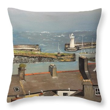 Throw Pillow featuring the painting Donaghadee Ireland Irish Sea by Brenda Brown