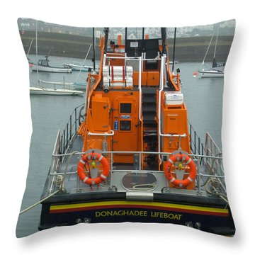 Donaghadee Rescue Lifeboat Throw Pillow by Brenda Brown