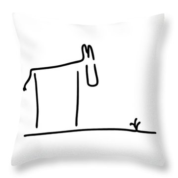 Donkey Throw Pillow by Lineamentum