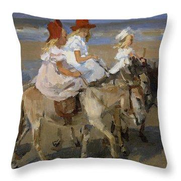 Donkey Rides Along The Beach Throw Pillow