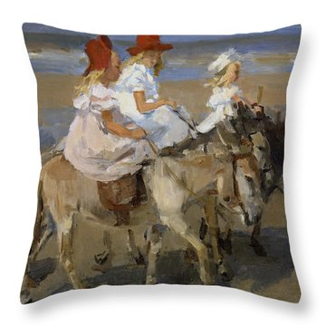 Donkey Rides Along The Beach Throw Pillow