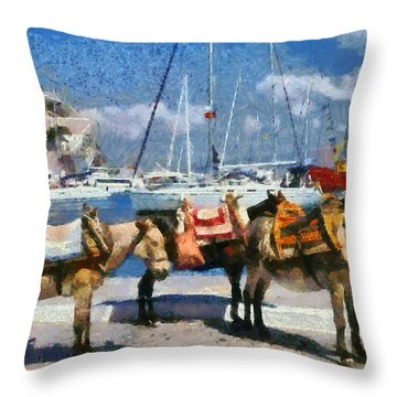 Donkeys Waiting For A Ride Throw Pillow