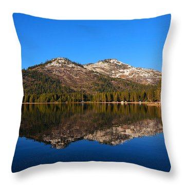 Donner Lake Cabin Reflection Throw Pillow