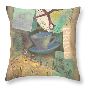 Throw Pillow featuring the painting Don't Be Blue by Mini Arora