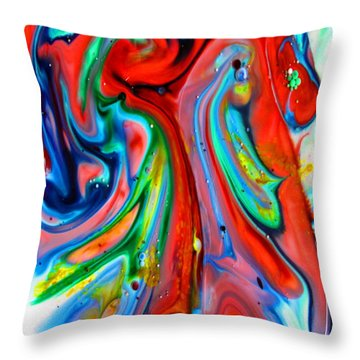 Throw Pillow featuring the painting Dont Worry  Be Happy by Joyce Dickens