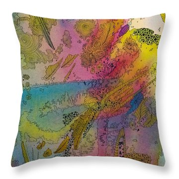 Doodle With Color Throw Pillow