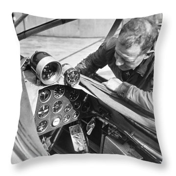 Doolitle' Blind Plane Throw Pillow by Underwood Archives