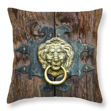 Throw Pillow featuring the sculpture Door - Cathedral Of Promise by Dan Redmon