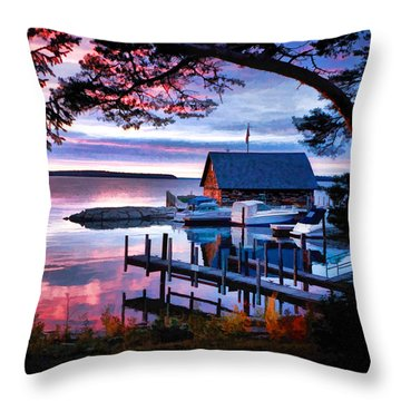 Door County Anderson Dock Sunset Throw Pillow