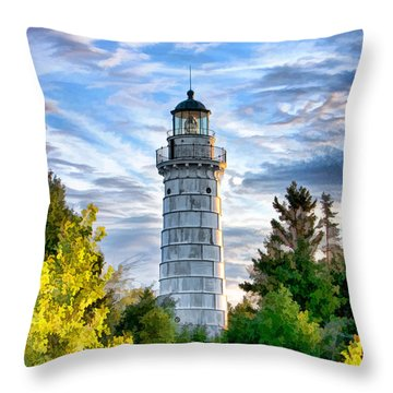 Door County Cana Island Beacon Throw Pillow by Christopher Arndt