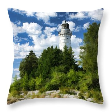 Cana Island Lighthouse Cloudscape In Door County Throw Pillow by Christopher Arndt