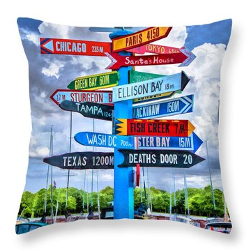 Door County Directional Sign In Egg Harbor Throw Pillow by Christopher Arndt