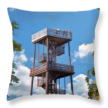 Door County Eagle Tower Peninsula State Park Throw Pillow by Christopher Arndt