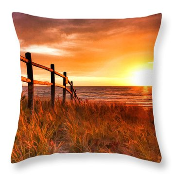 Door County Europe Bay Fence Sunrise Throw Pillow by Christopher Arndt