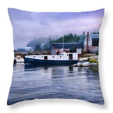 Door County Gills Rock Fishing Village Throw Pillow